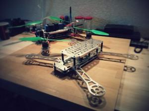 Min tredje modell av quadrocopter. Helt i laserskuren aluminium.